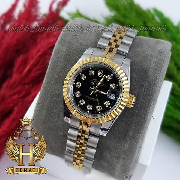 خرید انلاین ساعت زنانه رولکس دیت جاست Rolex Datejust RODJL26102 نقره ای طلایی ، قطر 26 میلیمتر صفحه مشکی