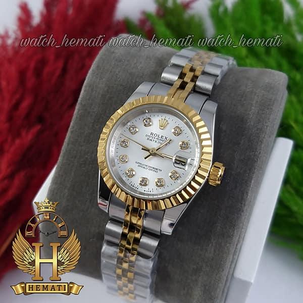 ساعت مچی زنانه رولکس دیت جاست Rolex Datejust RODJL26102 نقره ای طلایی ، قطر 26 میلیمتر ، صفحه نقره ای