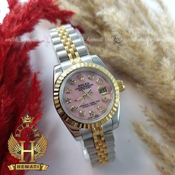 خرید ساعت زنانه رولکس دیت جاست Rolex Datejust RODJL26102 نقره ای طلایی ، قطر 26 میلیمتر صفحه صورتی