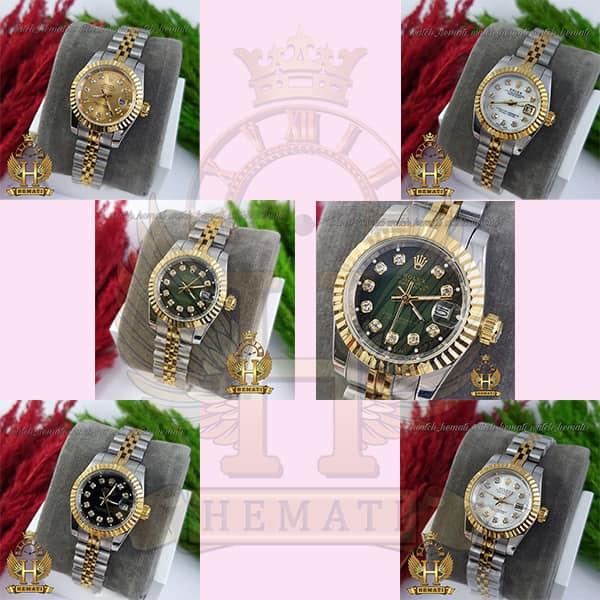 خرید ، قیمت ، مشخصات ساعت زنانه رولکس دیت جاست Rolex Datejust RODJL26102 نقره ای طلایی ، قطر 26 میلیمتر