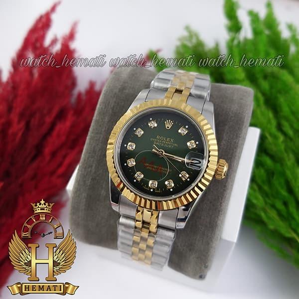 خرید ساعت زنانه رولکس دیت جاست Rolex Datejust RODJL114 نقره ای طلایی صفحه سبز