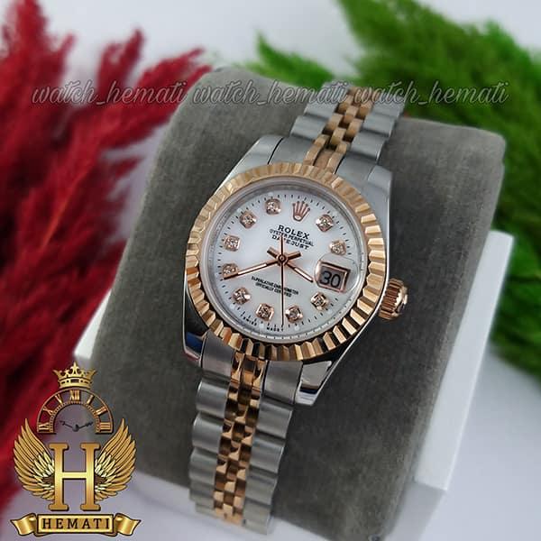 عکس ساعت زنانه رولکس دیت جاست Rolex Datejust RODJL111 نقره ای رزگلد صفحه صدف سفید