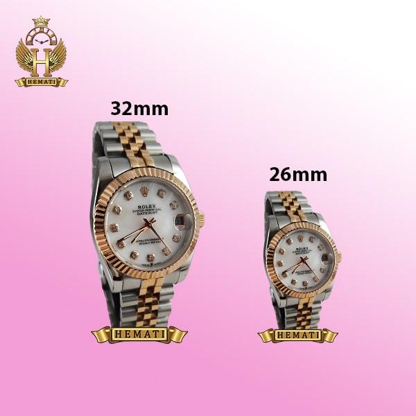 ساعت زنانه رولکس دیت جاست Rolex Datejust RODJL111 نقره ای رزگلد صفحه صدف سفید