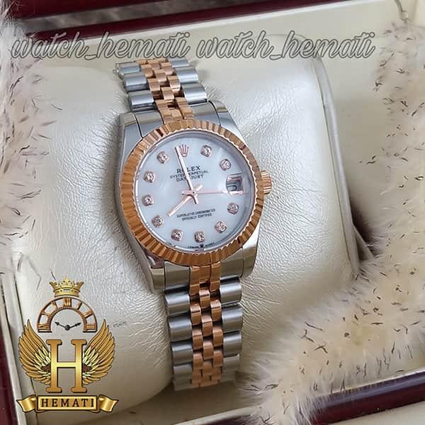 قیمت ساعت زنانه رولکس دیت جاست Rolex Datejust RODJL111 نقره ای رزگلد صفحه صدف سفید
