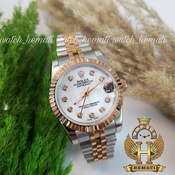 خرید ارزان ساعت زنانه رولکس دیت جاست Rolex Datejust RODJL111 نقره ای رزگلد صفحه صدف سفید