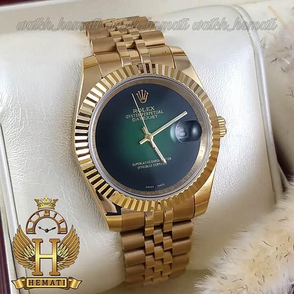 خرید ، قیمت ، مشخصات ساعت مردانه رولکس دیت جاست Rolex Datejust RODJM601 قاب و بند طلایی با صفحه سبز