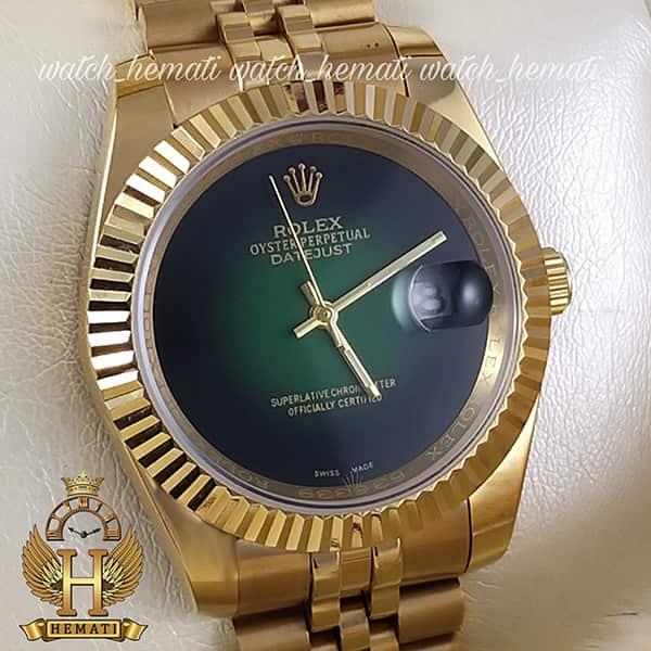 خرید ارزان ساعت مردانه رولکس دیت جاست Rolex Datejust RODJM601 قاب و بند طلایی با صفحه سبز