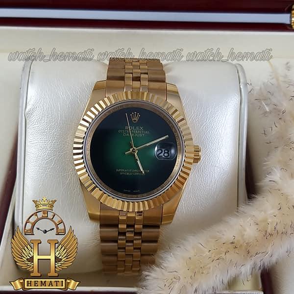 خرید اینترنتی ساعت مردانه رولکس دیت جاست Rolex Datejust RODJM601 قاب و بند طلایی با صفحه سبز