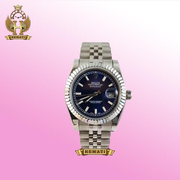 ساعت مردانه رولکس دیت جاست Rolex Datejust RODJM202 قاب و بند نقره ای و ایندکس خط ، صفحه سرمه ای