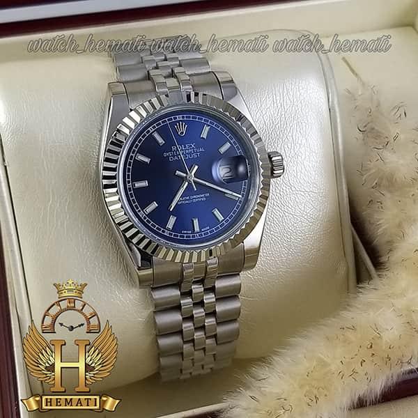 خرید ارزان ساعت مردانه رولکس دیت جاست Rolex Datejust RODJM202 قاب و بند نقره ای و ایندکس خط ، صفحه سرمه ای