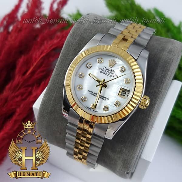 مشخصات ساعت زنانه رولکس دیت جاست Rolex Datejust RODJL32102 نقره ای طلایی ، قطر 32 میلیمتر صفحه سفید صدف