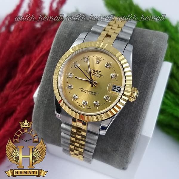 خرید ارزان ساعت زنانه رولکس دیت جاست Rolex Datejust RODJL32102 نقره ای طلایی ، قطر 32 میلیمتر صفحه طلایی