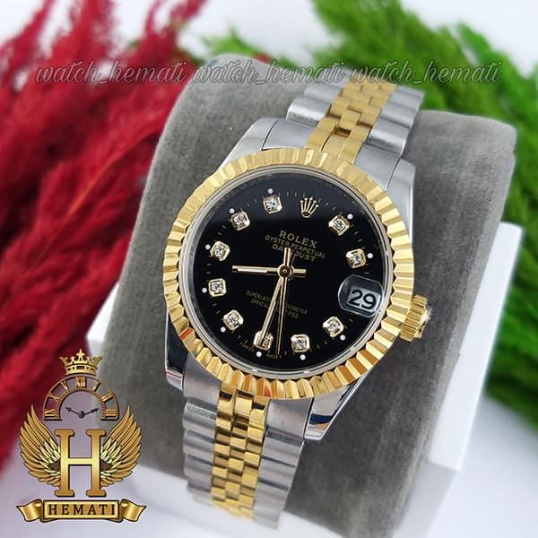 خرید اینترنتی ساعت زنانه رولکس دیت جاست Rolex Datejust RODJL32102 نقره ای طلایی ، قطر 32 میلیمتر صفحه مشکی