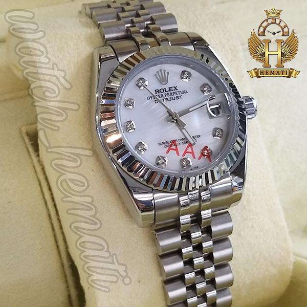 مشخصات ساعت مچی زنانه رولکس دیت جاست Rolex Datejust RODJL32106 نقره ای ف قطر 32 میلیمتر صفحه سفید صدف