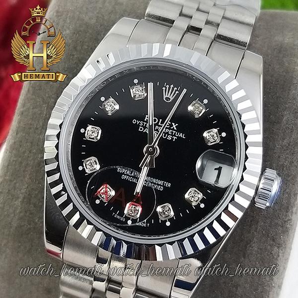 خرید ارزان ساعت زنانه رولکس دیت جاست Rolex Datejust RODJL32106 نقره ای ف قطر 32 میلیمتر صفحه مشکی