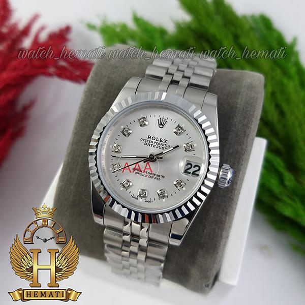 خرید ساعت زنانه رولکس دیت جاست Rolex Datejust RODJL32106 نقره ای ف قطر 32 میلیمتر صفحه نقره ای