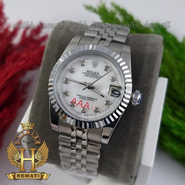 قیمت ساعت زنانه رولکس دیت جاست Rolex Datejust RODJL32106 نقره ای ف قطر 32 میلیمتر صفحه سفید صدف