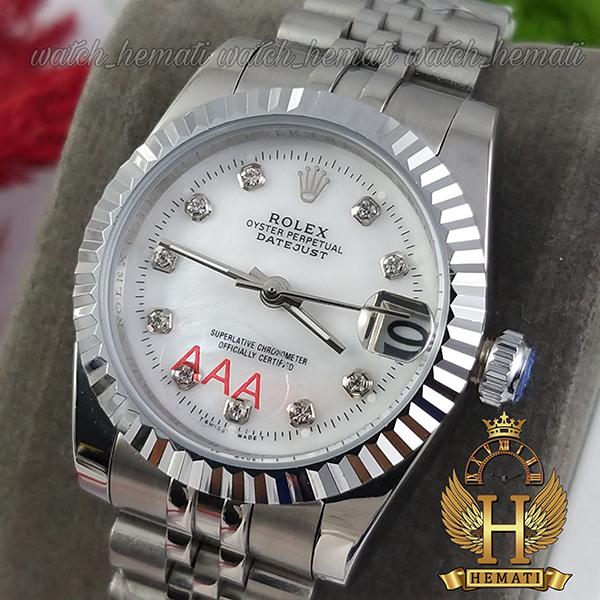 خرید انلاین ساعت زنانه رولکس دیت جاست Rolex Datejust RODJL32106 نقره ای ف قطر 32 میلیمتر صفحه سفید صدف
