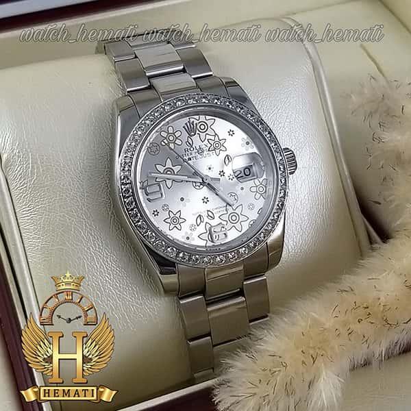 خرید اینترنتی ساعت اسپرت رولکس دیت جاست اتوماتیک Rolex Datejust RODJAM100 نقره ای ، دور قاب نگین ، صفحه طرح دار
