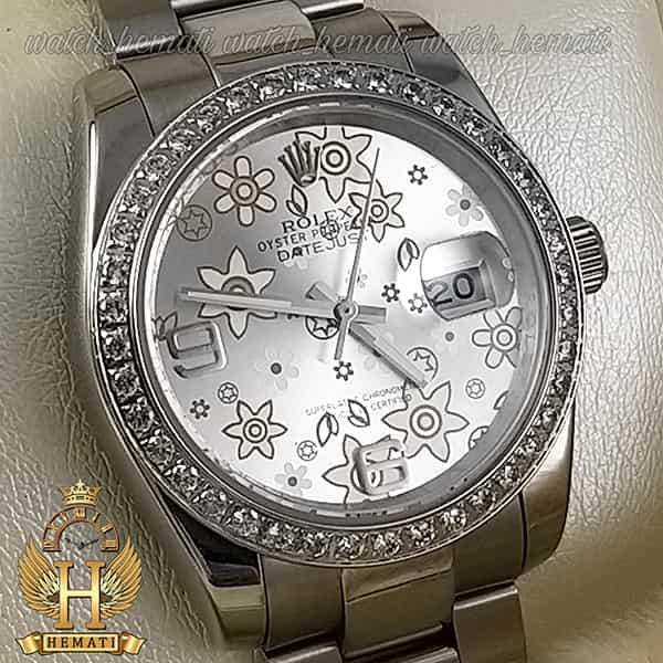 خرید انلاین ساعت اسپرت رولکس دیت جاست اتوماتیک Rolex Datejust RODJAM100 نقره ای ، دور قاب نگین ، صفحه طرح دار