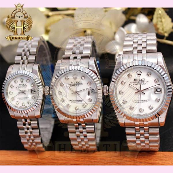 خرید ارزان ساعت ست مردانه و زنانه رولکس دیت جاست Rolex Datejust rodjst102 نقره ای با ایندکس نگین