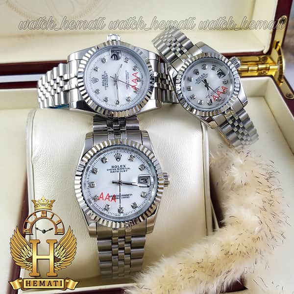 خرید ، قیمت ، مشخصات ساعت ست مردانه و زنانه رولکس دیت جاست Rolex Datejust rodjst102 نقره ای با ایندکس نگین