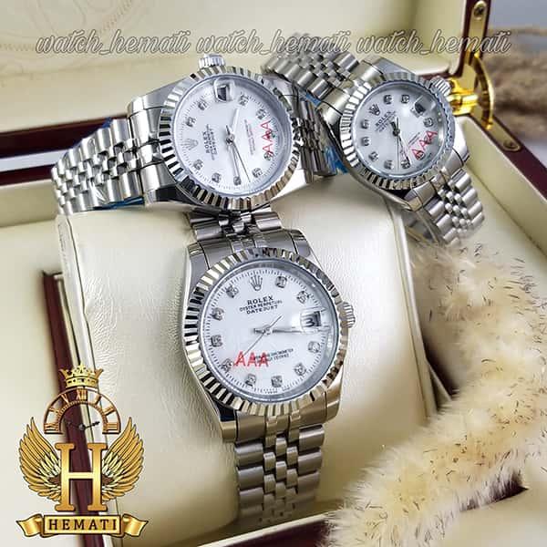 خرید اینترنتی ساعت ست مردانه و زنانه رولکس دیت جاست Rolex Datejust rodjst102 نقره ای با ایندکس نگین