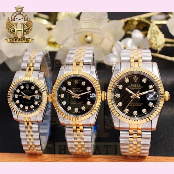 خرید ، قیمت ، مشخصات ساعت ست مردانه و زنانه رولکس دیت جاست Rolex Datejust rodjst106 نقره ای طلایی صفحه مشکی با ایندکس نگین