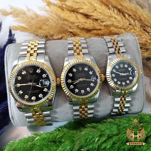 خرید اینترنتی ساعت ست مردانه و زنانه رولکس دیت جاست Rolex Datejust rodjst106 نقره ای طلایی صفحه مشکی با ایندکس نگین