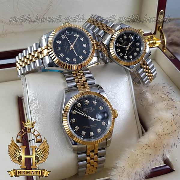 خرید ارزان ساعت ست مردانه و زنانه رولکس دیت جاست Rolex Datejust rodjst106 نقره ای طلایی صفحه مشکی با ایندکس نگین