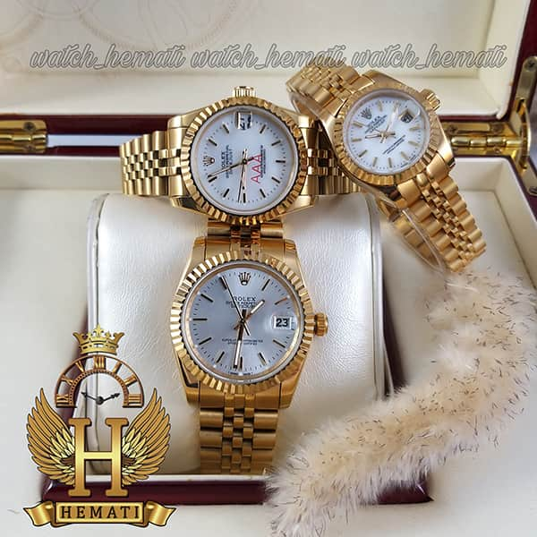 خرید ، قیمت ، مشخصات ساعت ست مردانه و زنانه رولکس دیت جاست Rolex Datejust rodjst200 قاب و بند طلایی با ایندکس خط