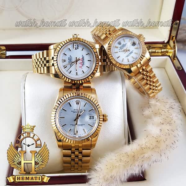 خرید ارزان ساعت ست مردانه و زنانه رولکس دیت جاست Rolex Datejust rodjst200 قاب و بند طلایی با ایندکس خط