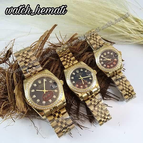خرید ، قیمت ، مشخصات ساعت ست مردانه و زنانه رولکس دیت جاست Rolex Datejust rodjst401 طلایی صفحه مشکی دور قاب نگین