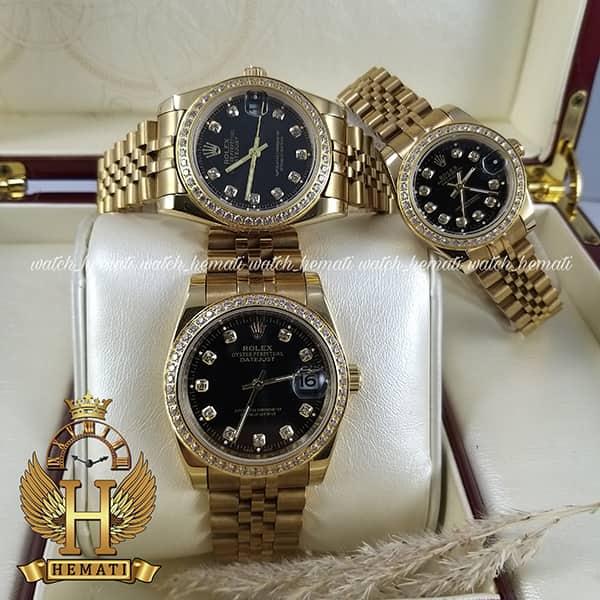 خرید ارزان ساعت ست مردانه و زنانه رولکس دیت جاست Rolex Datejust rodjst401 طلایی صفحه مشکی دور قاب نگین