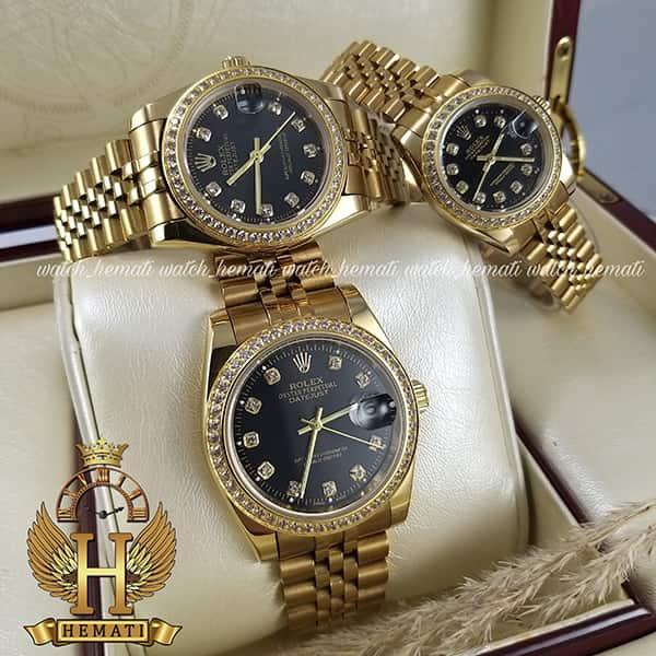 خرید اینترنتی ساعت ست مردانه و زنانه رولکس دیت جاست Rolex Datejust rodjst401 طلایی صفحه مشکی دور قاب نگین