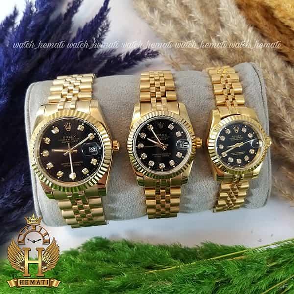 خرید انلاین ساعت ست مردانه و زنانه رولکس دیت جاست Rolex Datejust rodjst101 رنگ طلایی و صفحه مشکی و ایندکس نگین