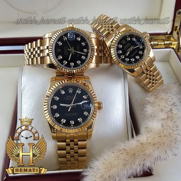 خرید ساعت ست مردانه و زنانه رولکس دیت جاست Rolex Datejust rodjst101 رنگ طلایی و صفحه مشکی و ایندکس نگین