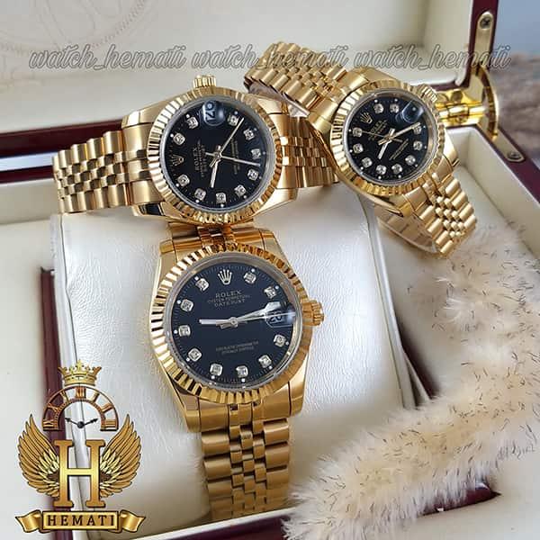 قیمت ساعت ست مردانه و زنانه رولکس دیت جاست Rolex Datejust rodjst101 رنگ طلایی و صفحه مشکی و ایندکس نگین