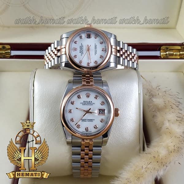 ساعت ست مردانه و زنانه رولکس دیت جاست Rolex Datejust rodjst300 نقره ای رزگلد با دور قاب ساده