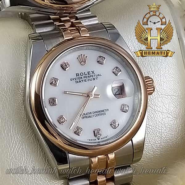 خرید اینترنتی ساعت ست مردانه و زنانه رولکس دیت جاست Rolex Datejust rodjst300 نقره ای رزگلد با دور قاب ساده