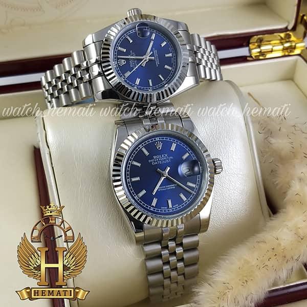 خرید ، قیمت ، مشخصات ساعت ست مردانه و زنانه رولکس دیت جاست Rolex Datejust rodjst202 قاب و بند نقره ای با صفحه سرمه ای و ایندکس خط