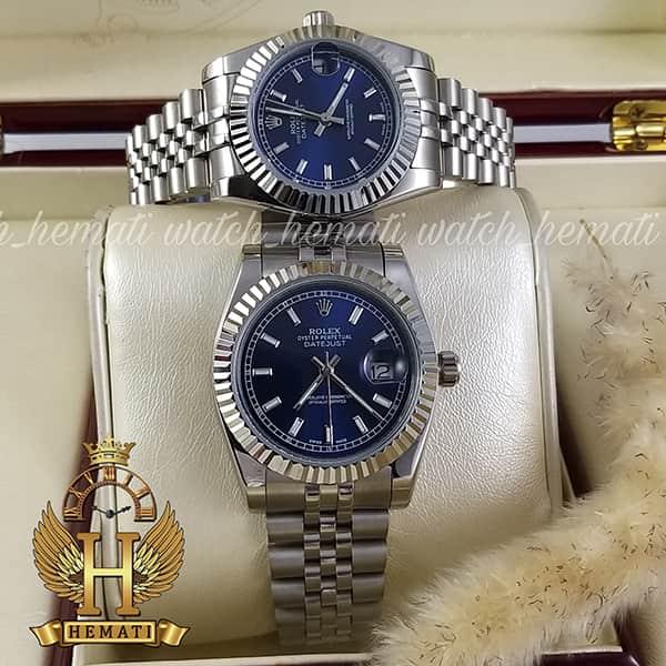 خرید اینترنتی ساعت ست مردانه و زنانه رولکس دیت جاست Rolex Datejust rodjst202 قاب و بند نقره ای با صفحه سرمه ای و ایندکس خط