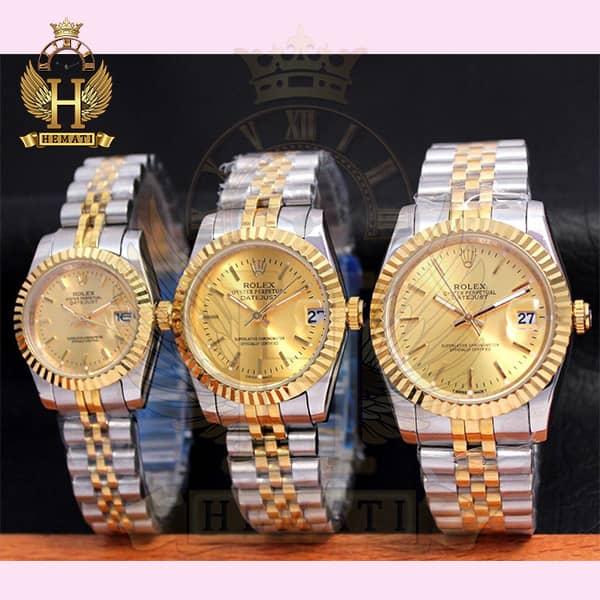خرید ارزان ساعت ست مردانه و زنانه رولکس دیت جاست Rolex Datejust rodjst201 رنگ نقره ای طلایی با ایندکس خط