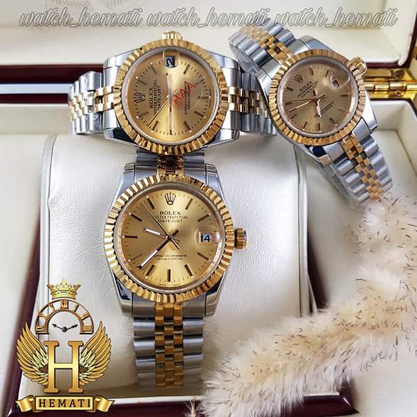خرید اینترنتی ساعت ست مردانه و زنانه رولکس دیت جاست Rolex Datejust rodjst201 رنگ نقره ای طلایی با ایندکس خط