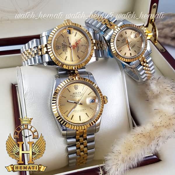 خرید ، قیمت ، مشخصات ساعت ست مردانه و زنانه رولکس دیت جاست Rolex Datejust rodjst201 رنگ نقره ای طلایی با ایندکس خط