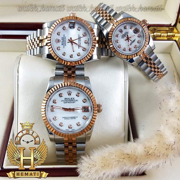 خرید ، قیمت ، مشخصات ساعت ست مردانه و زنانه رولکس دیت جاست Rolex Datejust rodjst103 نقره ای رزگلد با صفحه سفید صدف و ایندکس نگین
