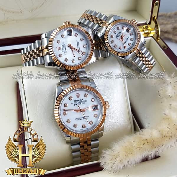 خرید اینترنتی ساعت ست مردانه و زنانه رولکس دیت جاست Rolex Datejust rodjst103 نقره ای رزگلد با صفحه سفید صدف و ایندکس نگین