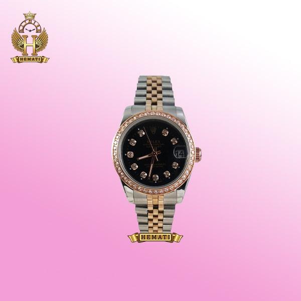 ساعت زنانه رولکس دیت جاست Rolex Datejust RODJL32500 نقره ای رزگلد ، دور قاب نگین ، قطر 32 میلیمتر