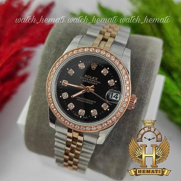خرید ارزان ساعت زنانه رولکس دیت جاست Rolex Datejust RODJL32500 نقره ای رزگلد ، دور قاب نگین ، قطر 32 میلیمتر