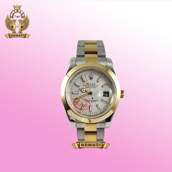 ساعت مردانه رولکس دیت جاست Rolex Datejust RODJM405 نقره ای طلایی ، دور قاب ساده ، ایندکس خط